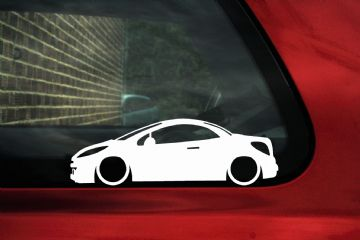 2x Lowered car outline stickers - Peugeot 207 CC, coupe convertible